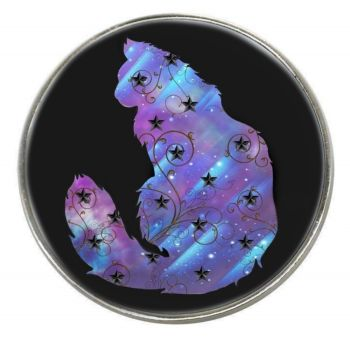 Galaxy Cat - Aurora - Chrome Finish Metal Magnet
