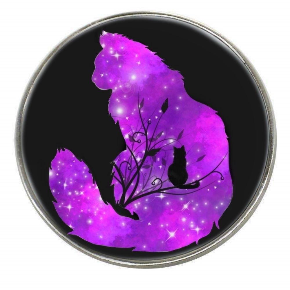 Galaxy Cat - Starlight - Chrome Finish Metal Magnet