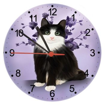 Lilac Serenity - Cat Wall Clock