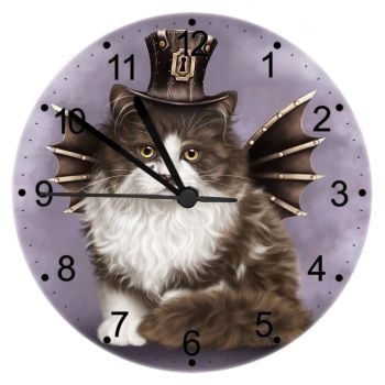 Steampunk Valentine - Cat Wall Clock