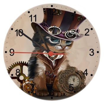 Steampunk LITE - Cat Wall Clock