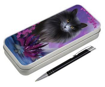 Fantasy Cat - Obsidion - Pencil Tin & Pen