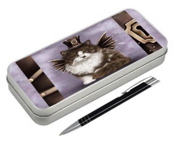 Steampunk Valentine Cat - Pencil Tin & Pen