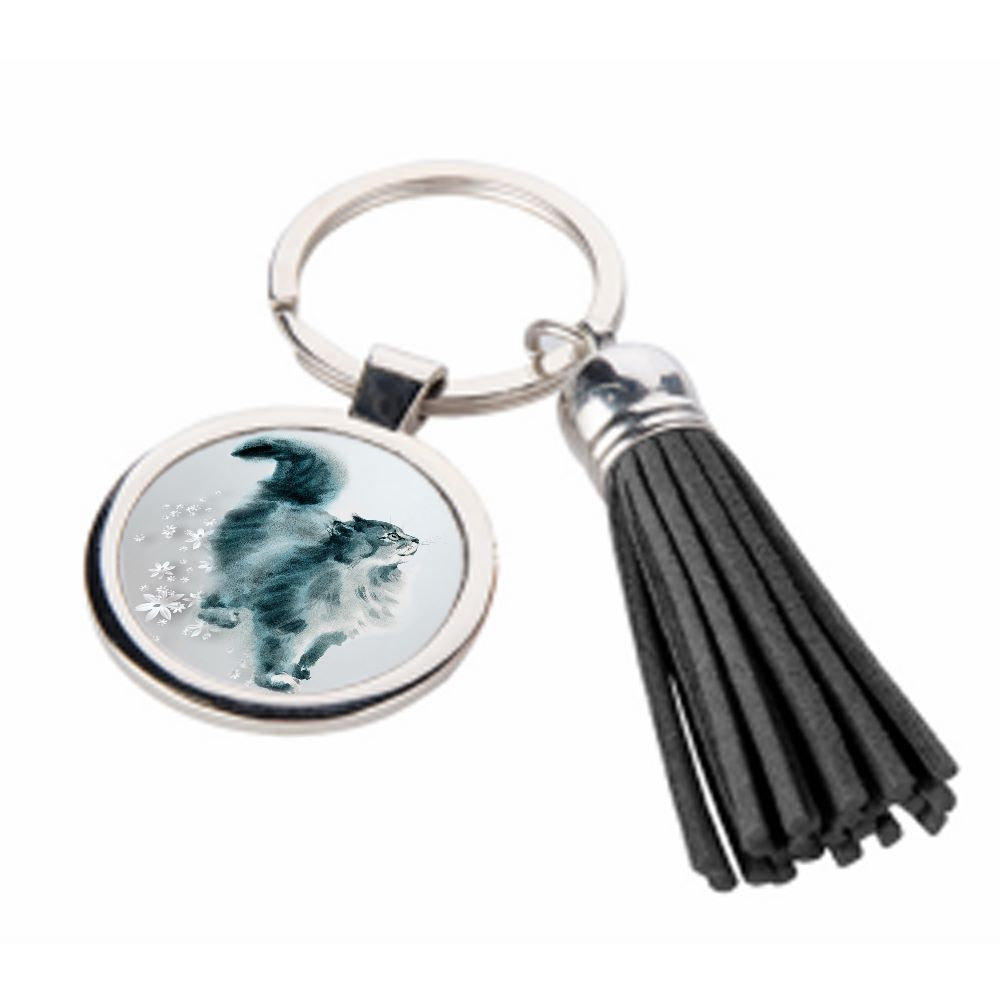 All You Need Is Love & A Cat - Metal Keyring & Tassel