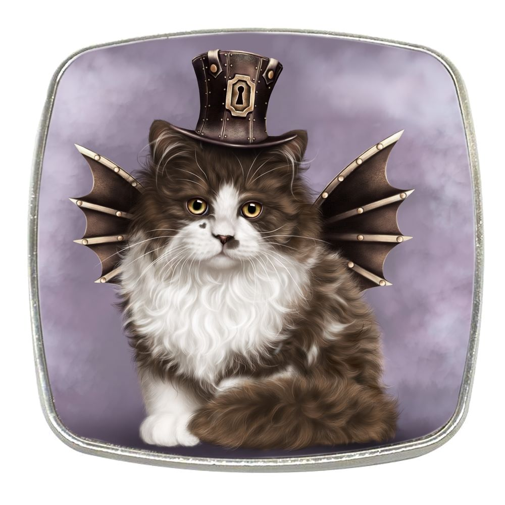 Steampunk Cat Valentine - Chrome Finish Metal Magnet