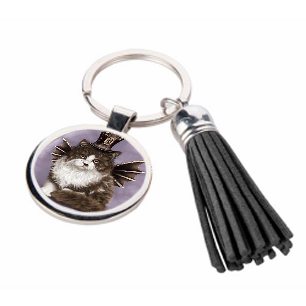 Steampunk Valentine Cat - Metal Keyring & Tassel