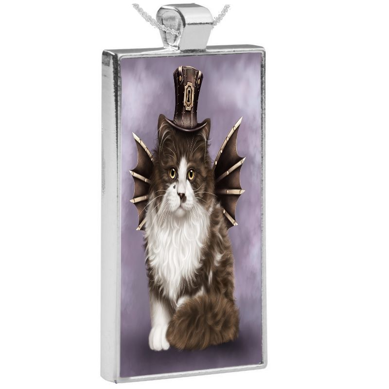 Silver Plated Pendant & 24 Inch Chain - Steampunk Valentine Cat