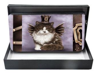 Steampunk Valentine Cat - Large Clutch Purse - Boxed