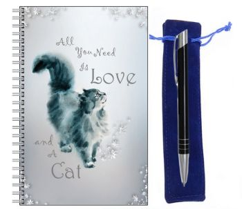 Lined Notebook & Pen Set - All You Need is Love & A Cat