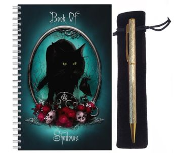 Lined Notebook & Pen Set - Familiar Protection Book Of Shadows