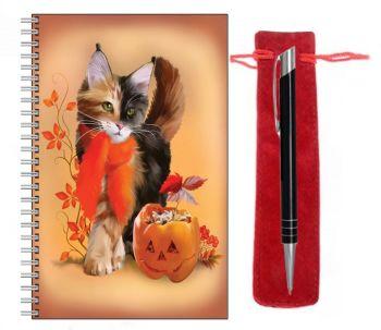 Lined Notebook & Pen Set - Pumpkin