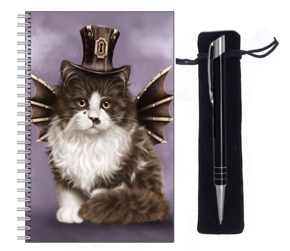 Lined Notebook & Pen Set - Steampunk Valentine Cat