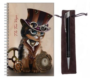 Lined Notebook & Pen Set - The Time Keeper - Steampunk Cat