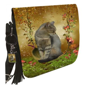 Small Shoulder Cat Bag With Tassel Ring - Autumn Enchantment