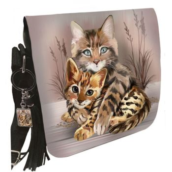 Small Shoulder Cat Bag With Tassel Ring - Best Friends