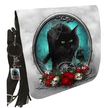Small Shoulder Cat Bag With Tassel Ring - Familiar Protection