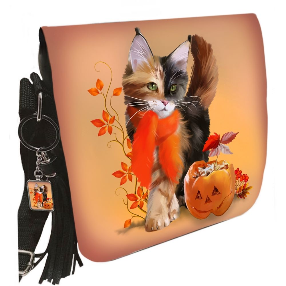 Small Shoulder Cat Bag With Tassel Ring - Pumpkin