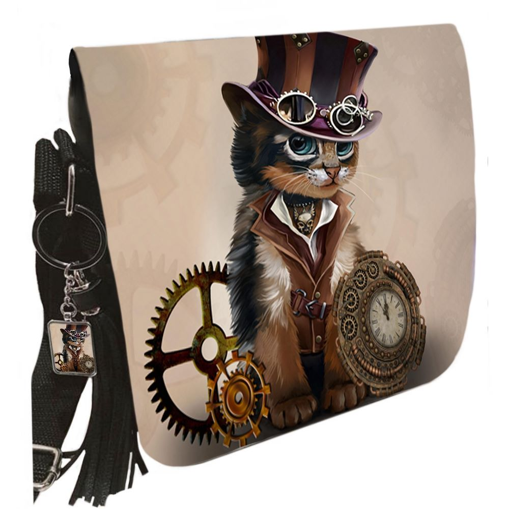 Small Shoulder Cat Bag With Tassel Ring - Steampunk LITE