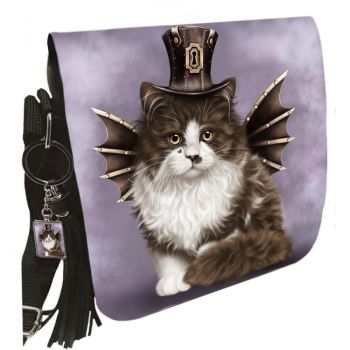 Small Shoulder Cat Bag With Tassel Ring - Steampunk Valentine