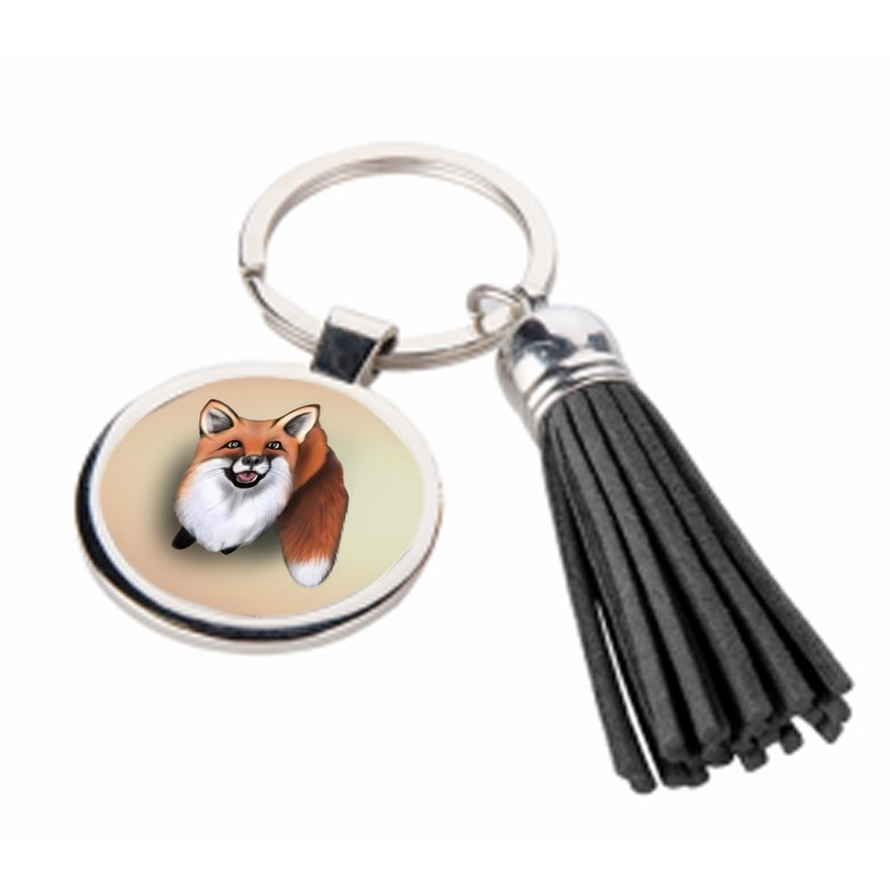 Little Fox - Metal Keyring & Tassel