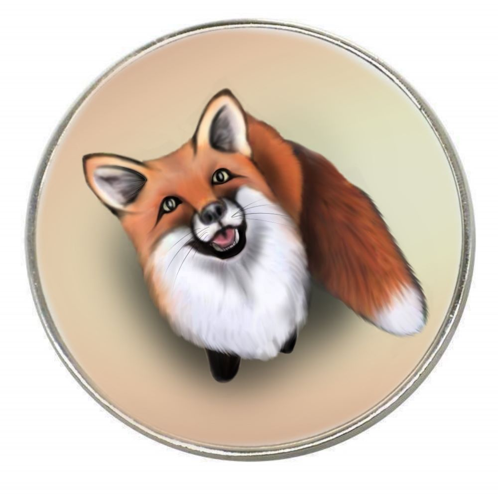 Little Fox - Chrome Finish Metal Magnet