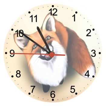 Little Fox -  20cm Glass Wall Clock
