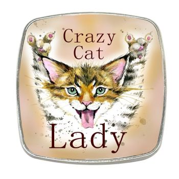 Crazy Cat Lady - Chrome Finish Metal Magnet