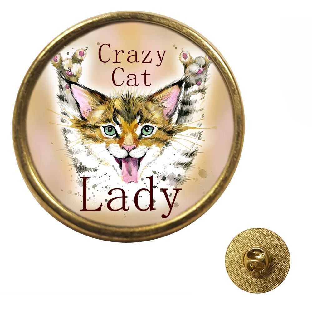 Crazy Cat Lady - Gold Colour Metal Pin Badge