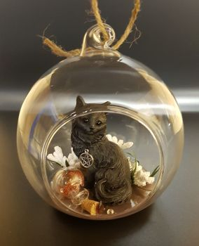 A357 - Black Cat In Glass Globe - Witches Cat & Potion Bottles