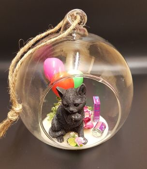 A358 - Black Cat In Glass Globe - Party Time