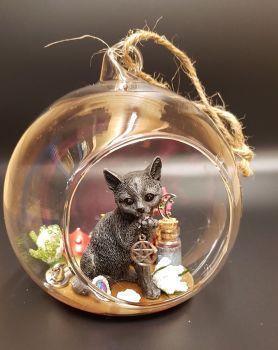 A364 - Black Cat In Glass Globe - Little Black Cat Holding Pentagram Charm