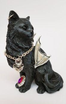 B198 - Black Cat & Silver Bat Wings - Little Metal Cat 2