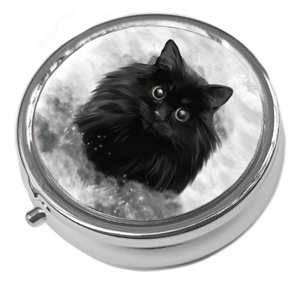 Blacl Cat Face - Storm - Metal Pill Box