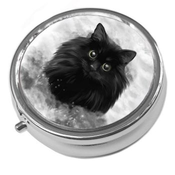 Blacl Cat Face - Storm - Metal Pill Box