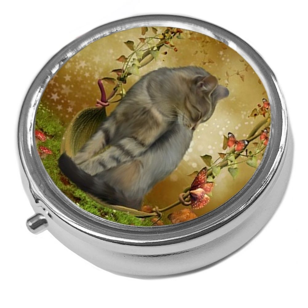 Cat on Swing Pill Box - Autumn Enchantment