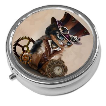Steampunk Cat - Metal Pill Box
