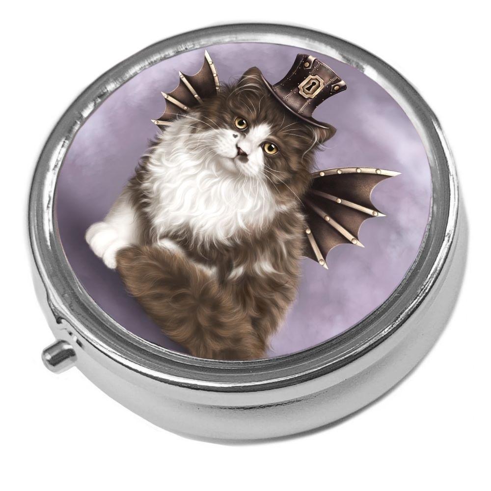 Steampunk Valentine Cat - Metal Pill Box