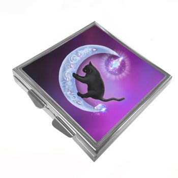 The Healer - Black Cat & Moon - Pill/Trinket Box
