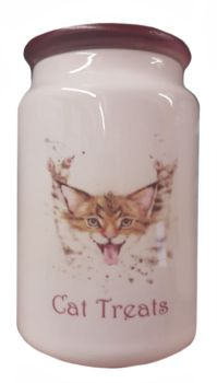 Crazy Cat - Ceramic Cat Treat Jar