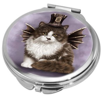 Steampunk Valentine Cat Compact Mirror