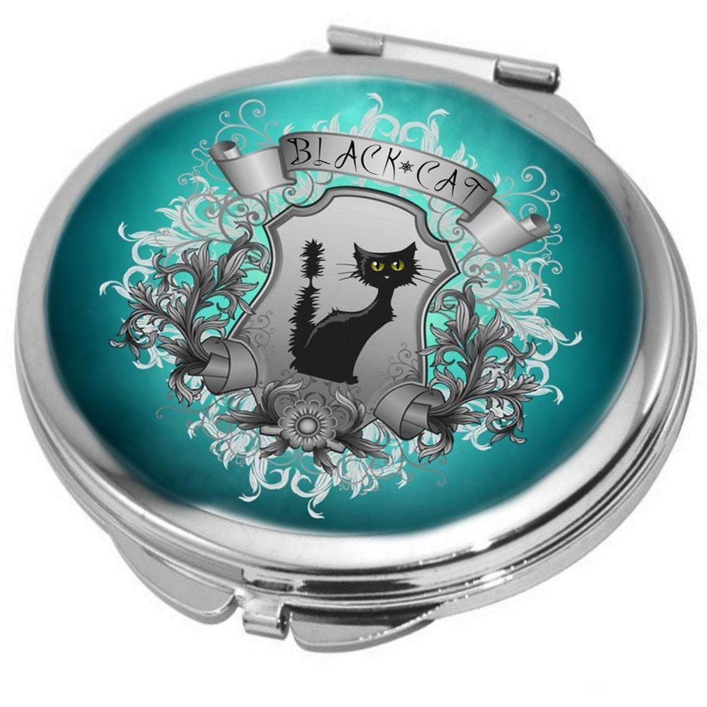 Black Cat Compact Mirror