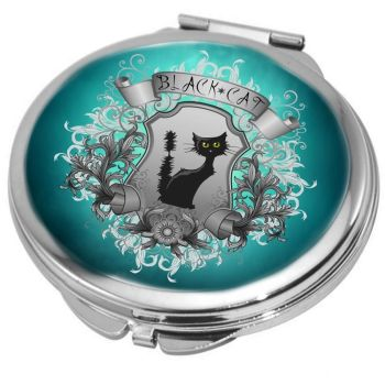 Black Cat Compact Mirror