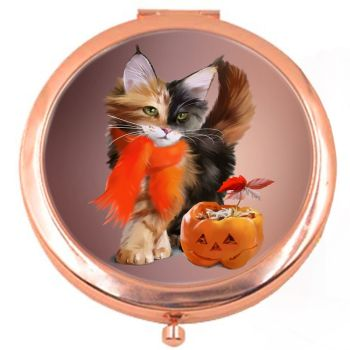 Pumpkin Rose Colour Compact Mirror