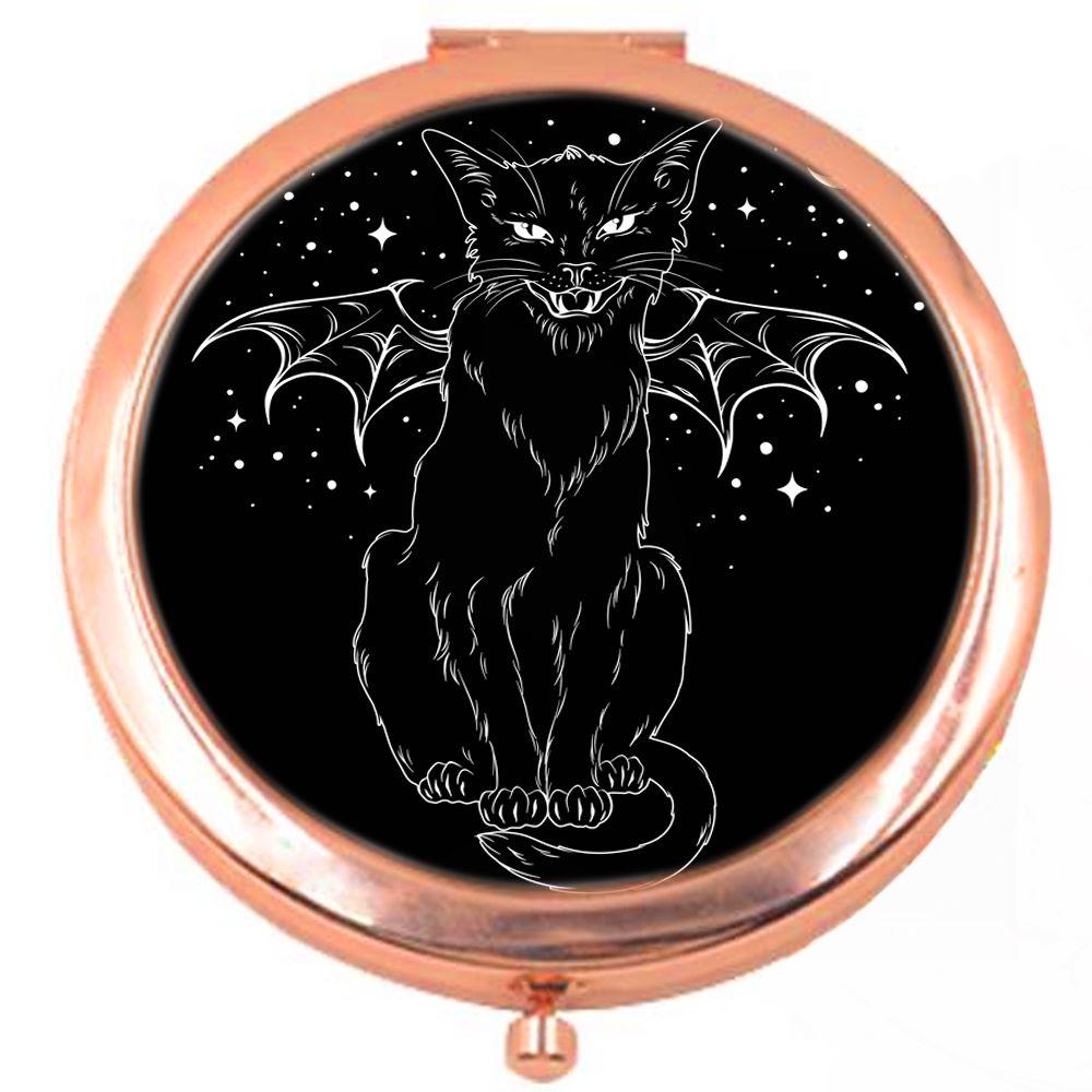Vampire Cat Rose Colour Compact Mirror
