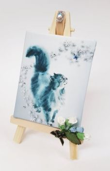 Mini Canvas & Easel - Love & A cat
