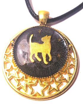 P186 - Gold & Black cat & Stars