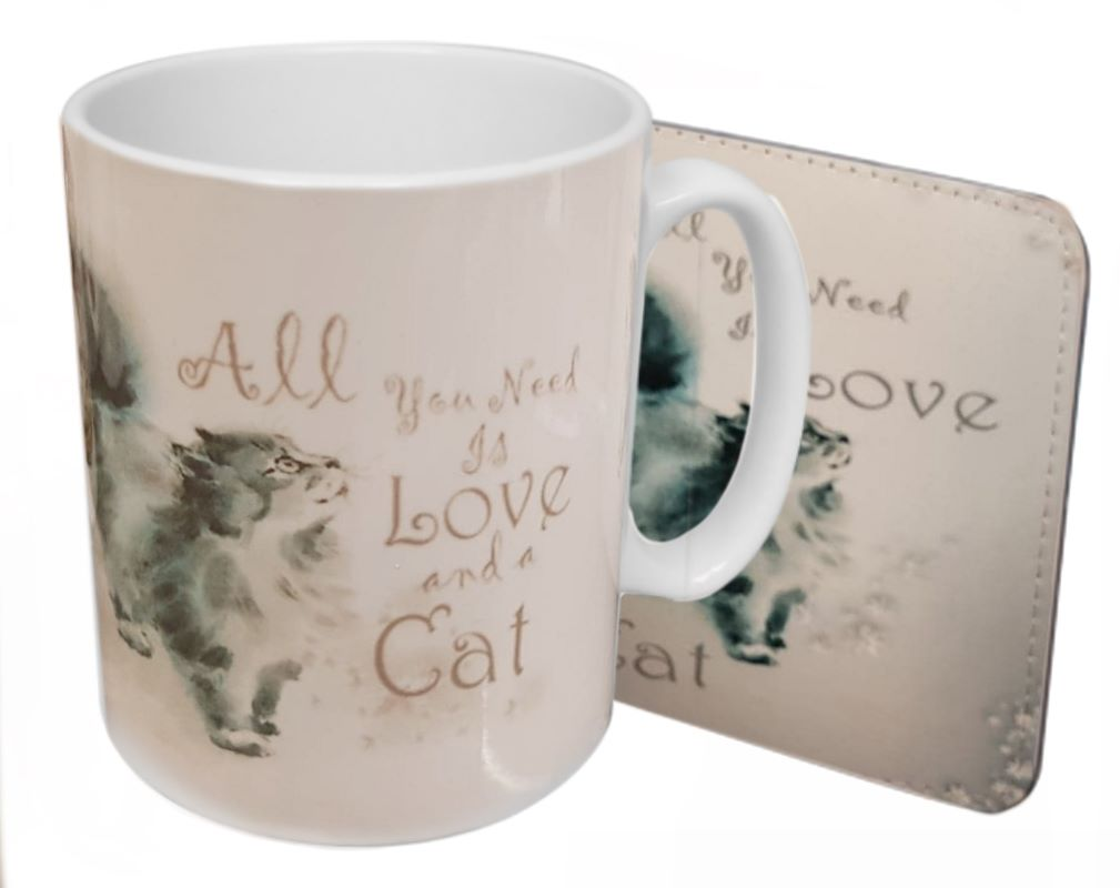 All You Need Is Love & A Cat - Boxed Mug & Coaster Set