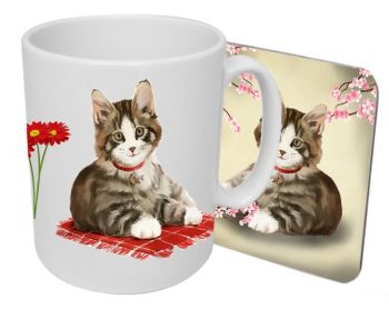 Jess (Tabby & White Cat)  - Boxed Mug & Coaster Set