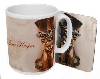 The Time Keeper - Steampunk Cat - Boxed Mug & Coaster Set