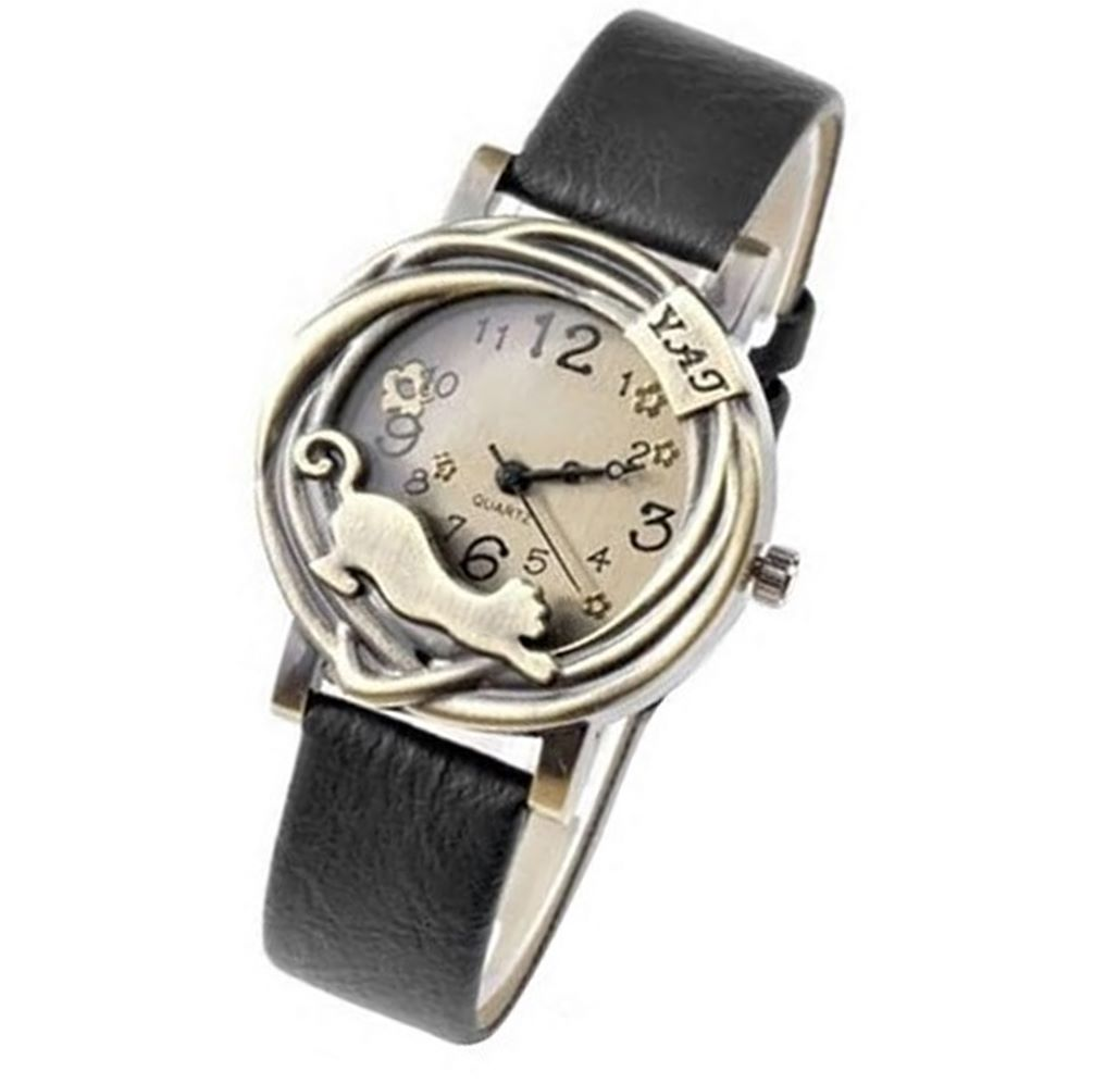 Antique Bronze Effect Cat Wrist Watch